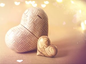 Preview wallpaper hearts, love, figurines, wood, glare, light