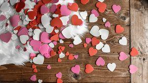 Preview wallpaper hearts, multicolored, fur, table