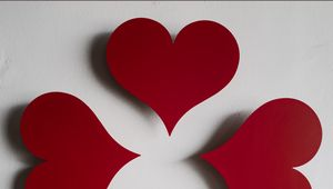 Preview wallpaper hearts, paper, red, white