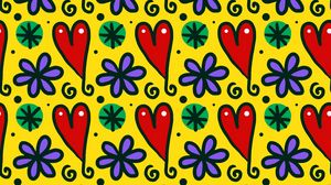 Preview wallpaper hearts, patterns, art, flowers, snowflakes