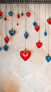 Preview wallpaper hearts, pendants, glass, decoration, love