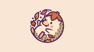 Preview wallpaper hedgehog, leaves, cute, art, vector