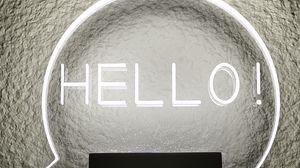 Preview wallpaper hello, inscription, glow, wall