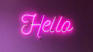 Preview wallpaper hello, inscription, neon, light, electricity, sign