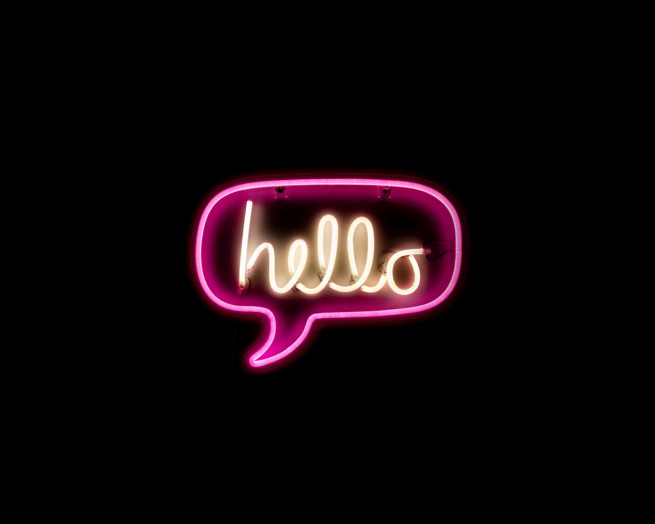 1280x1024 Wallpaper hello, neon, inscription, text