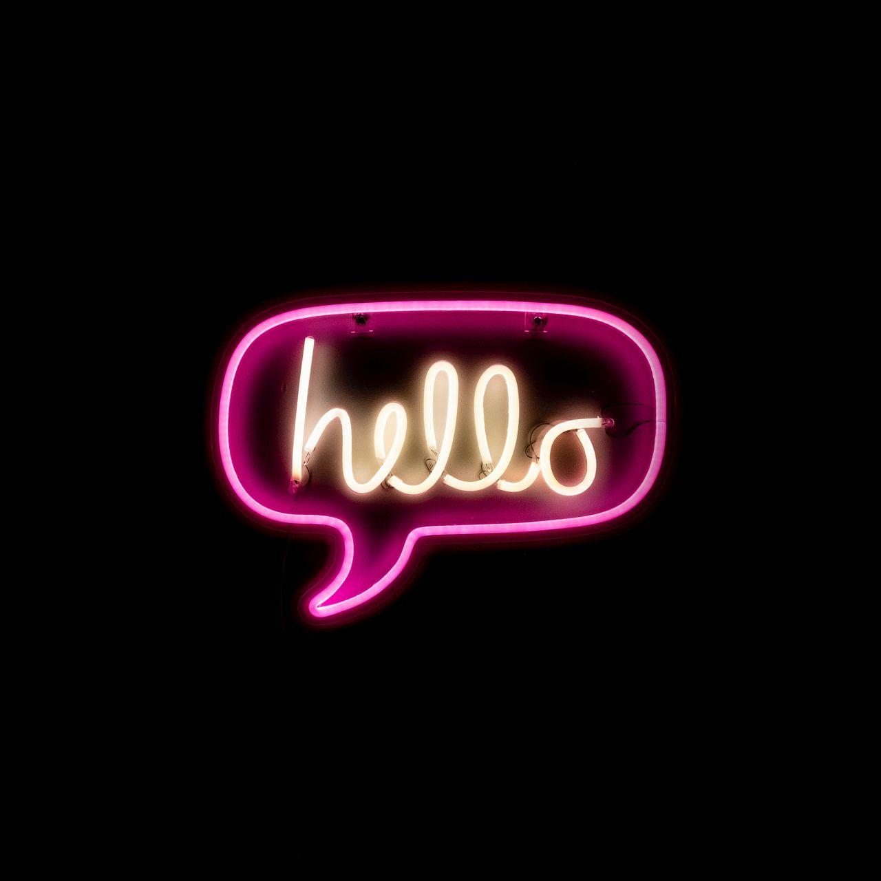 1280x1280 Wallpaper hello, neon, inscription, text