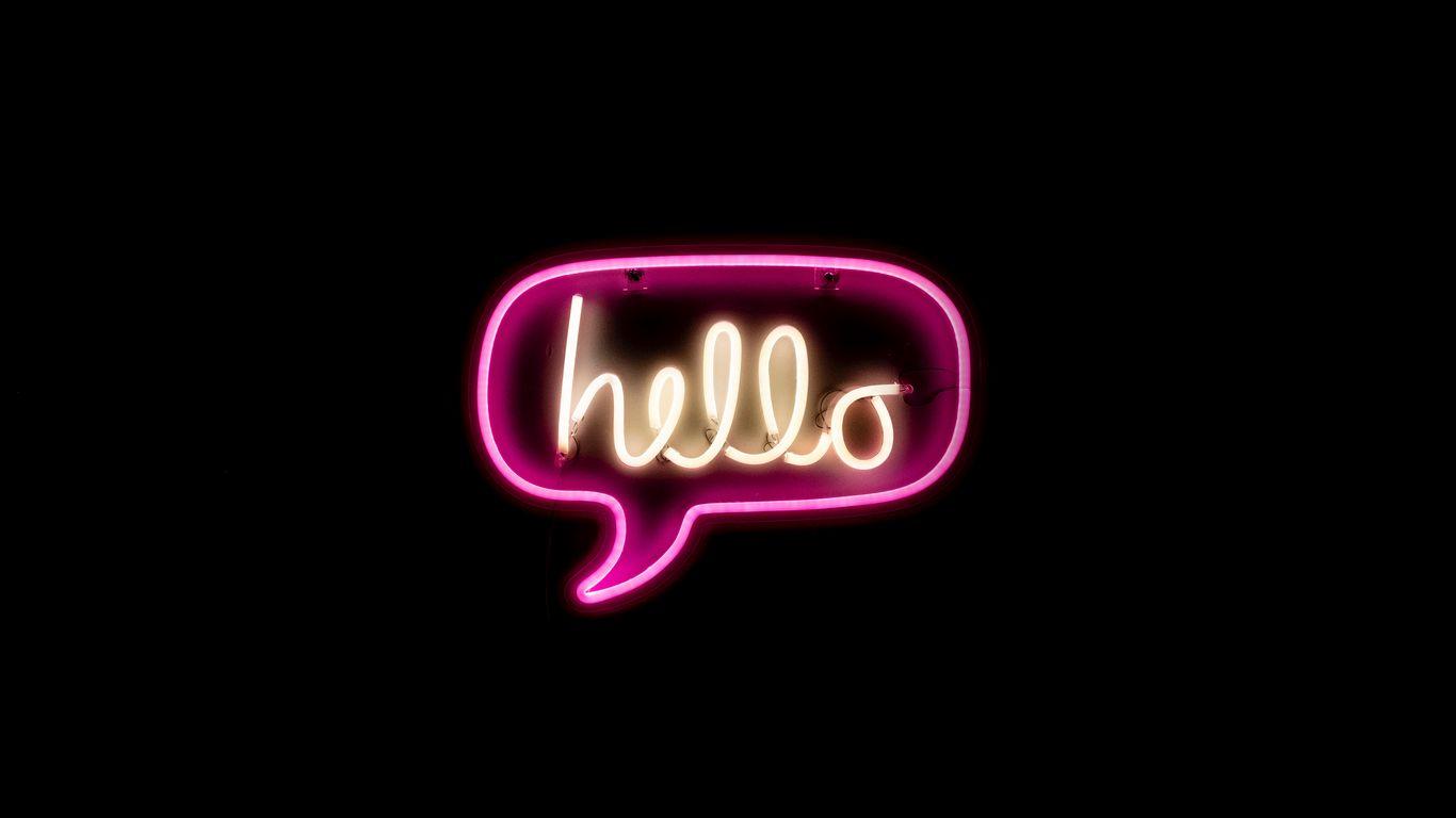 1366x768 Wallpaper hello, neon, inscription, text