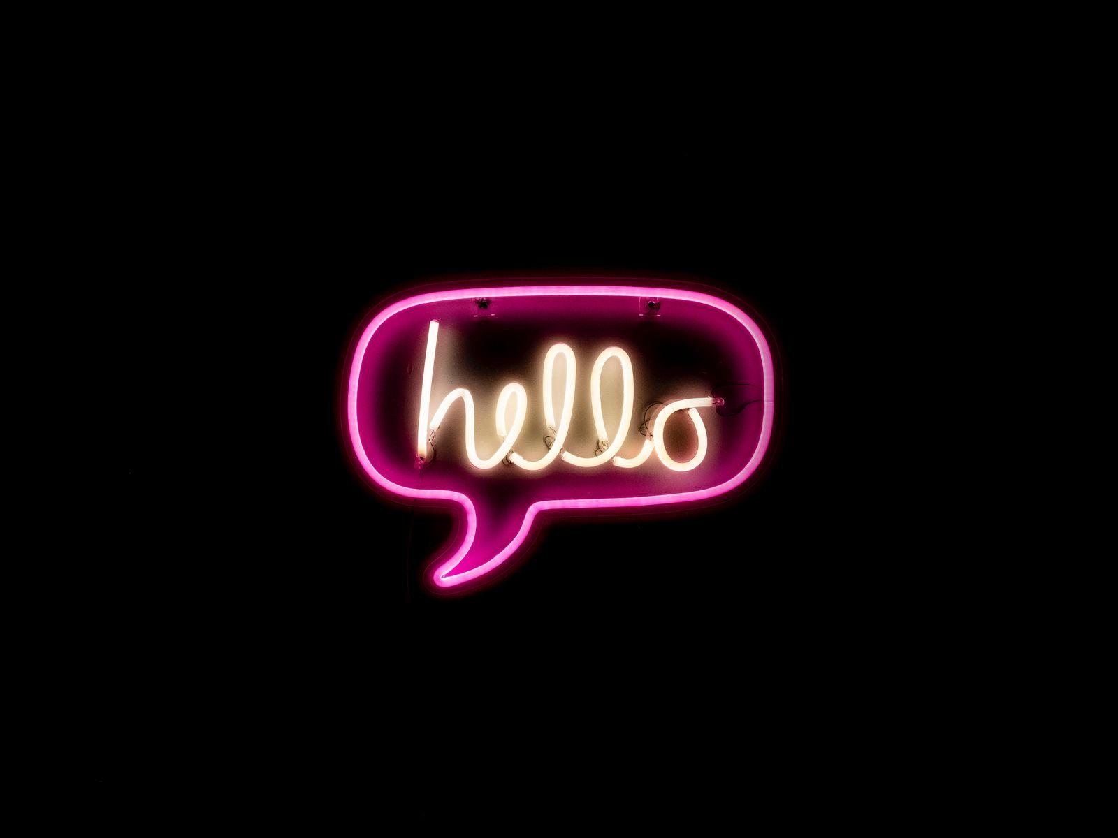 1600x1200 Wallpaper hello, neon, inscription, text