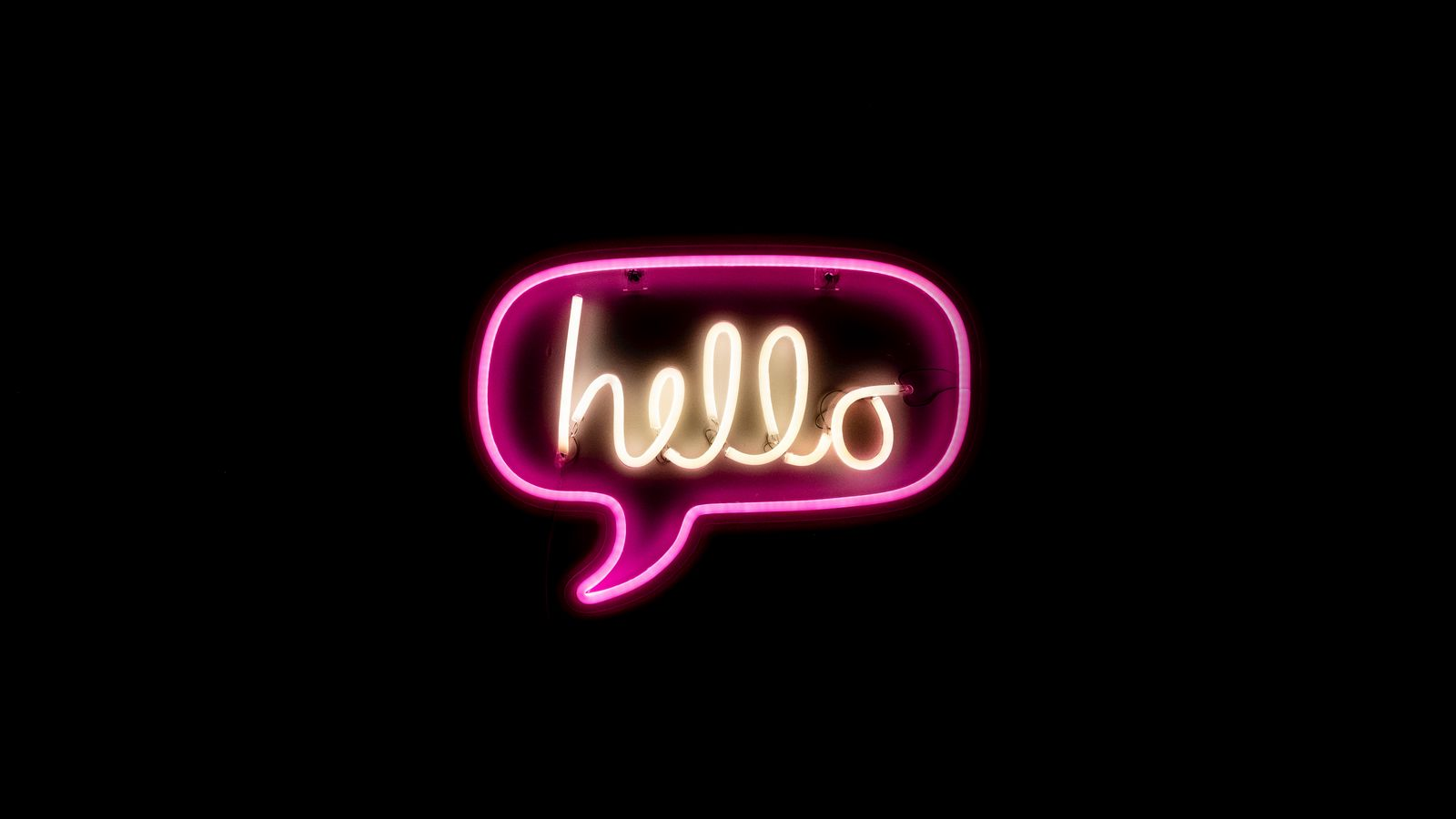 1600x900 Wallpaper hello, neon, inscription, text