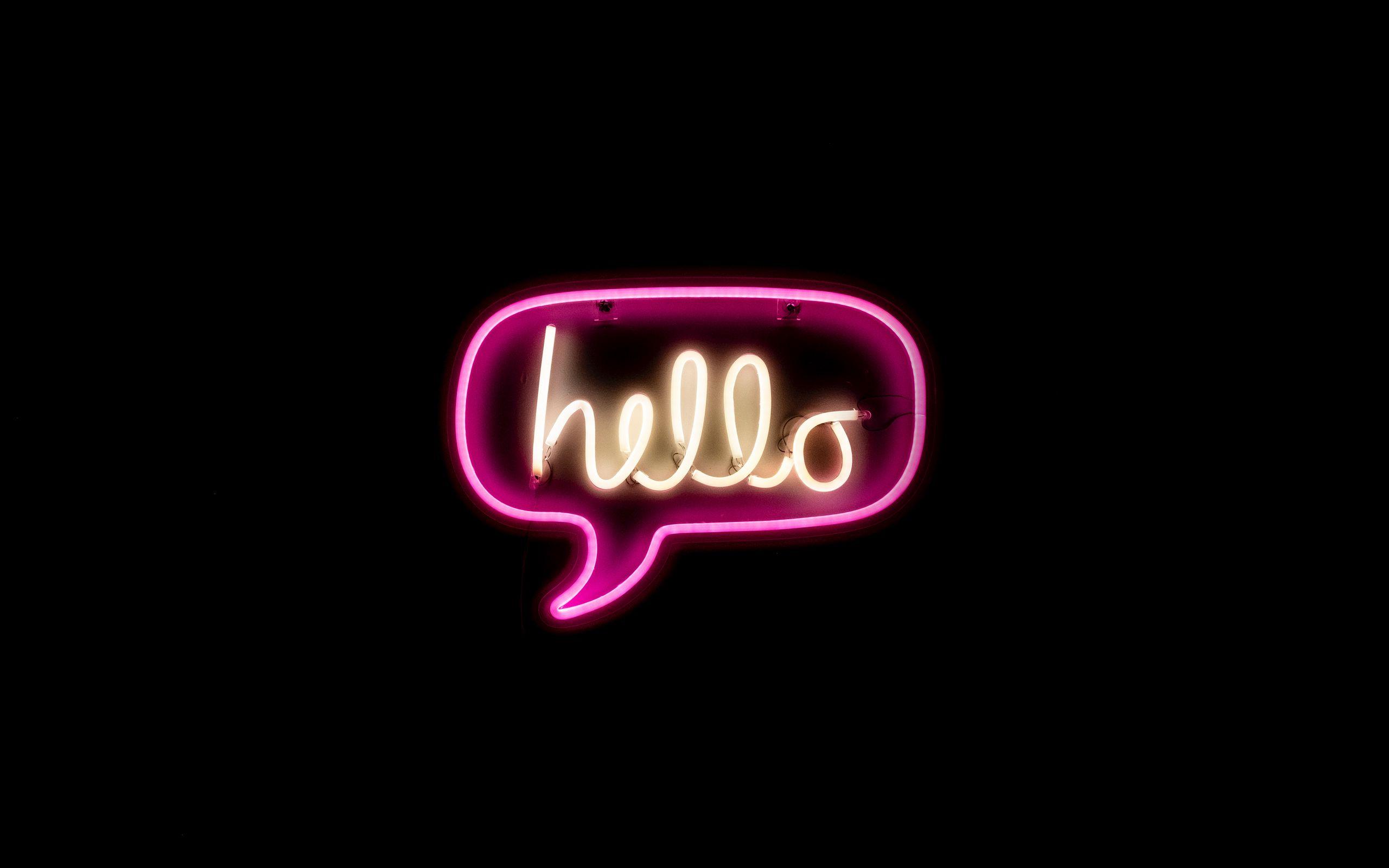2560x1600 Wallpaper hello, neon, inscription, text