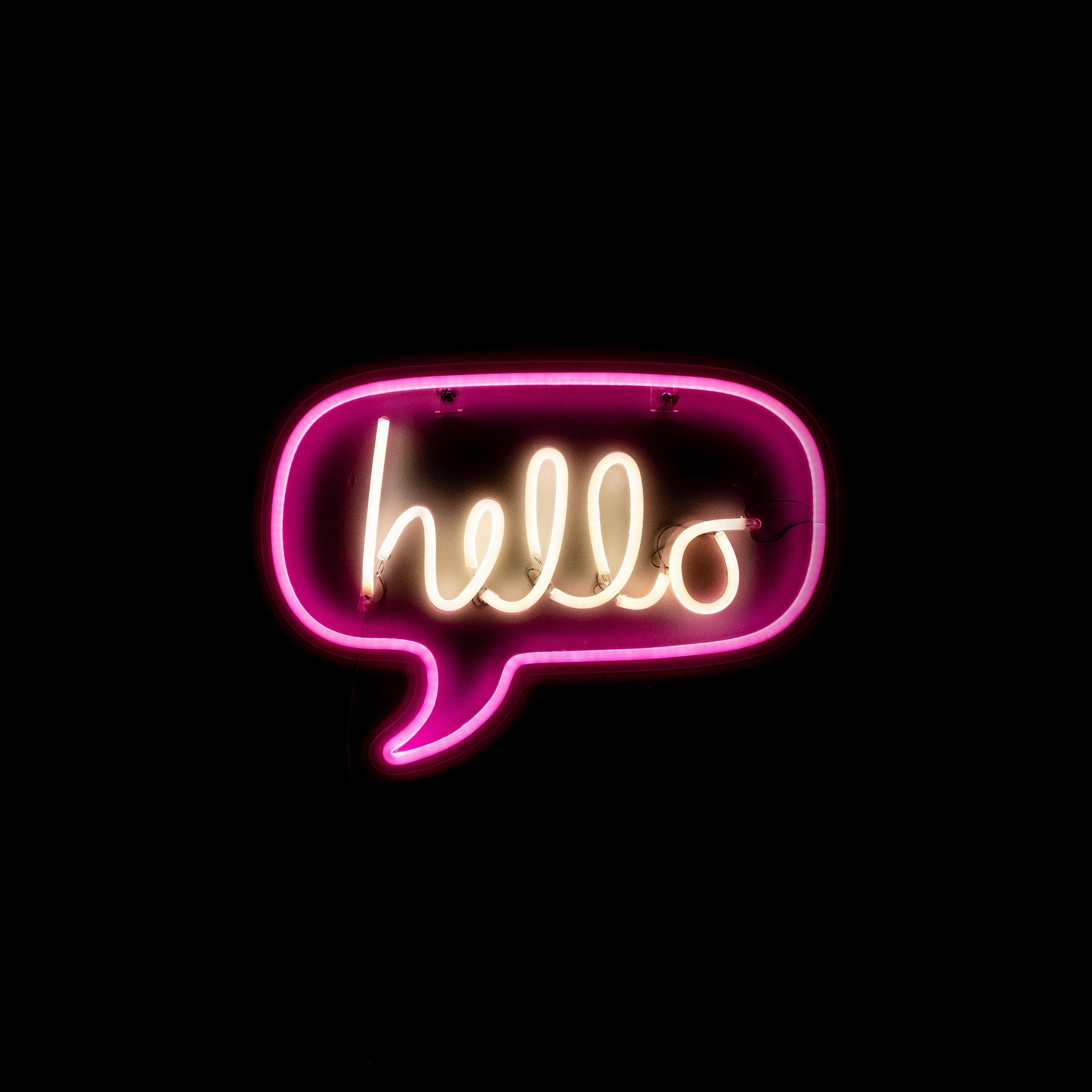 2780x2780 Wallpaper hello, neon, inscription, text