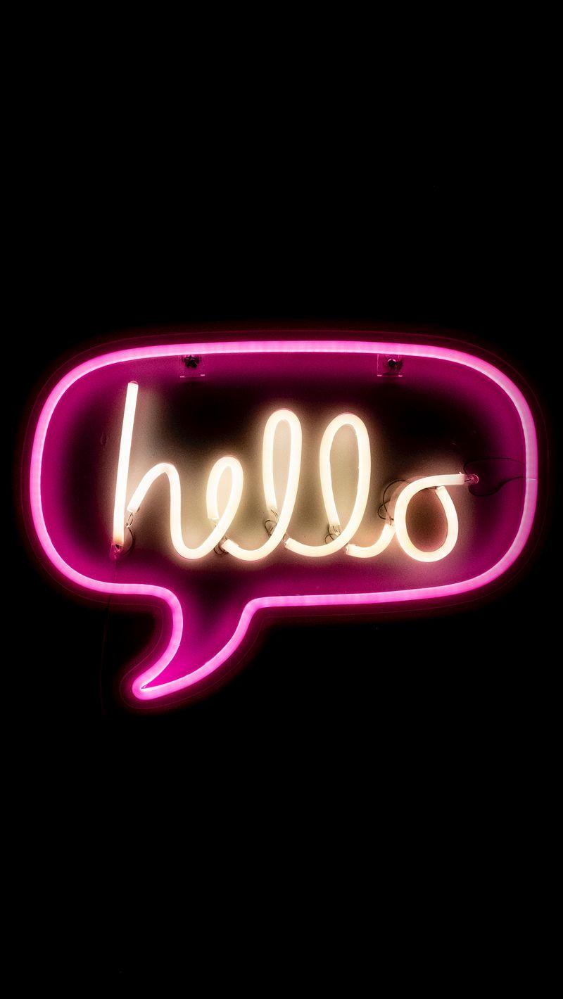 800x1420 Wallpaper hello, neon, inscription, text