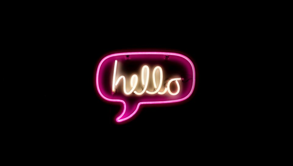 960x544 Wallpaper hello, neon, inscription, text