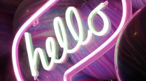Preview wallpaper hello, neon, text, signboard, glow