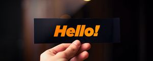 Preview wallpaper hello, word, card, hand