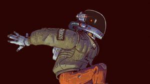 Preview wallpaper helmet, jump, man, sci-fi