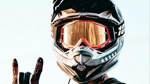 Preview wallpaper helmet, motorcyclist, man