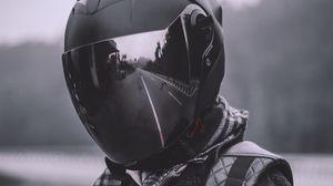 Preview wallpaper helmet, reflection, man, black