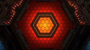 Preview wallpaper hexagon, figure, glow, device