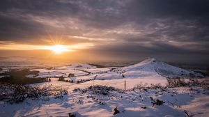 Preview wallpaper hills, landscape, winter, snow, sunset