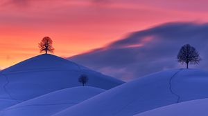 Preview wallpaper hills, snow, trees, sunset, winter