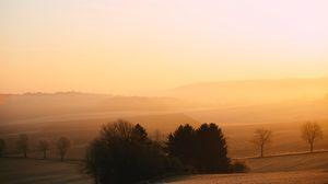 Preview wallpaper hills, trees, fog, dusk, morning, landscape