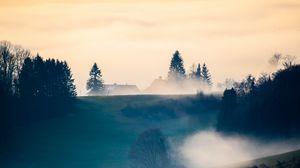 Preview wallpaper hills, trees, fog, clouds, landscape
