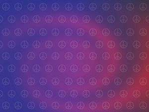Preview wallpaper hippies, picture, sign, peace, purple
