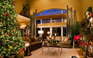 Preview wallpaper holiday, christmas tree, new year, christmas, decorations, santa claus, santa, gifts, room, interior, style, design, furniture, candles, window, reflection, new years interior, tree