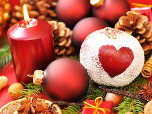 Preview wallpaper holiday, heart, new year, christmas, candle, apple powder, needles, balls, cones