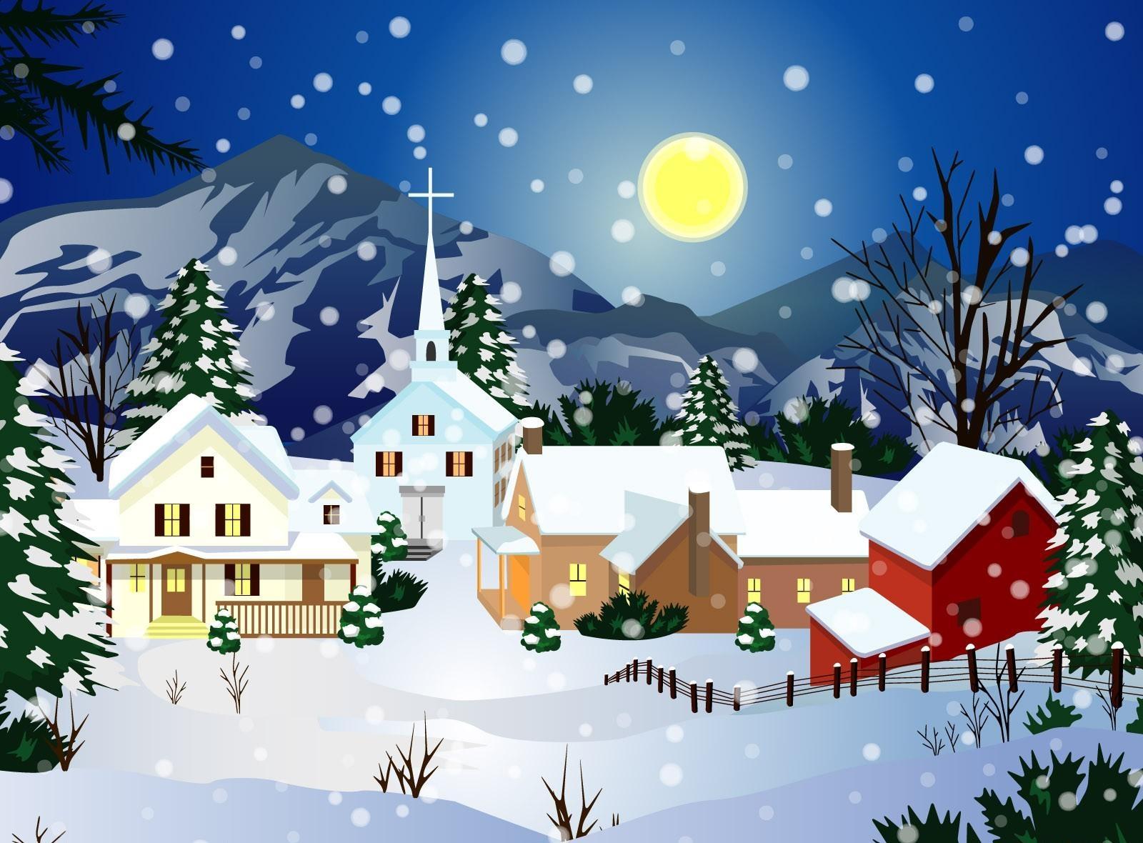 1600x1180 Wallpaper home, full moon, church, snow, night, winter