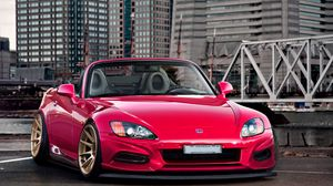 Preview wallpaper honda, city, red, front view, roadster, s2000