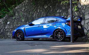 Preview wallpaper honda civic type-r, honda, car, blue, side view