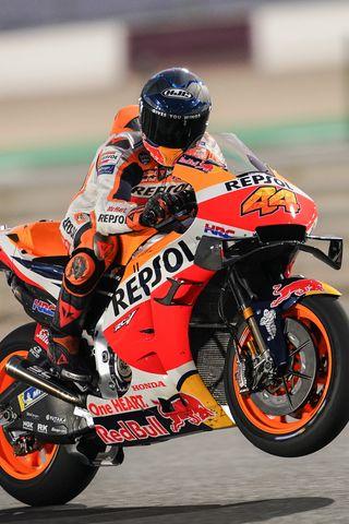 320x480 Wallpaper honda, motorcycle, motorcyclist, helmet, speed, track, orange