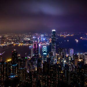 Preview wallpaper hong kong, china, skyscrapers, night city, city lights