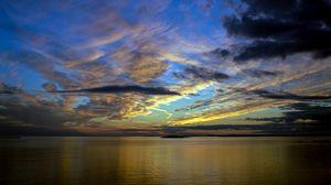 Preview wallpaper horizon, sea, sunset, sky, clouds