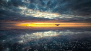 Preview wallpaper horizon, sea, sunset, clouds