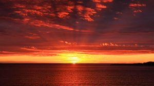 Preview wallpaper horizon, sunrise, sea, sun
