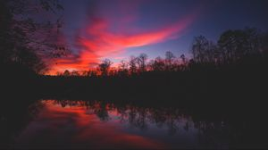 Preview wallpaper horizon, sunset, river, reflection, trees, sky