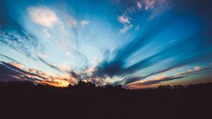 Preview wallpaper horizon, sunset, trees, sky, twilight, evening