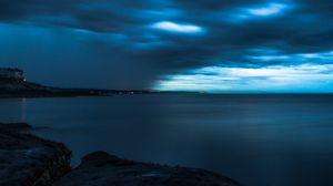 Preview wallpaper horizon, twilight, storm, sky, clouds, shore