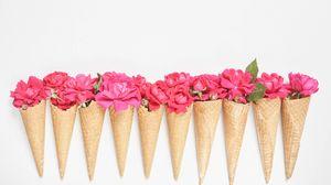 Preview wallpaper horns, flowers, petals, pink