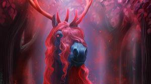 Preview wallpaper horse, horns, fiction
