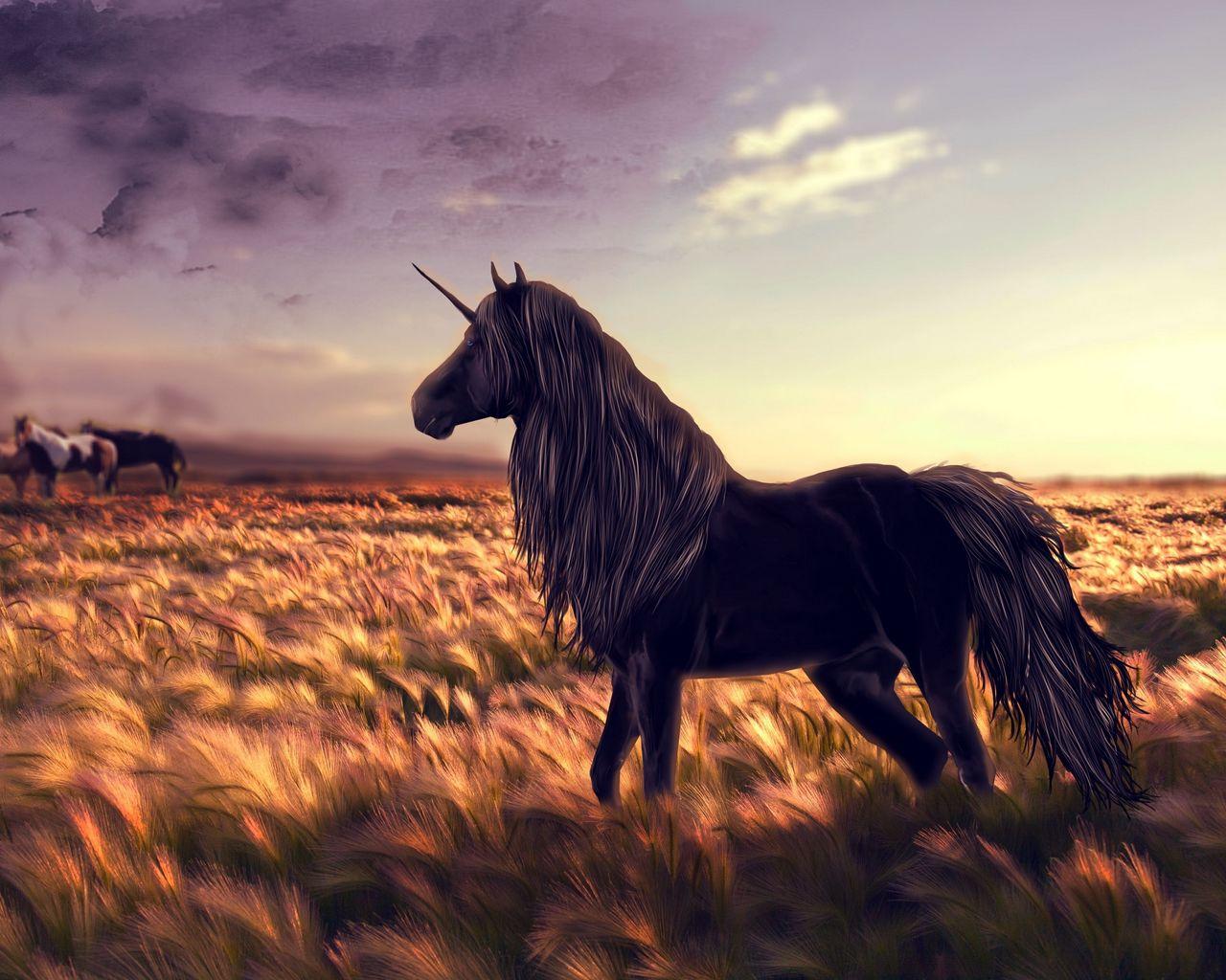 1280x1024 Wallpaper horse, unicorn, golf, art, grass, wind