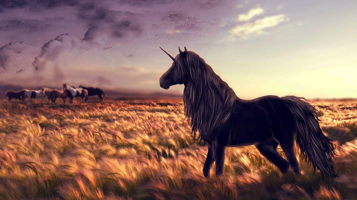 1366x768 Wallpaper horse, unicorn, golf, art, grass, wind