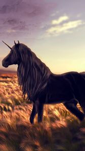 Preview wallpaper horse, unicorn, golf, art, grass, wind