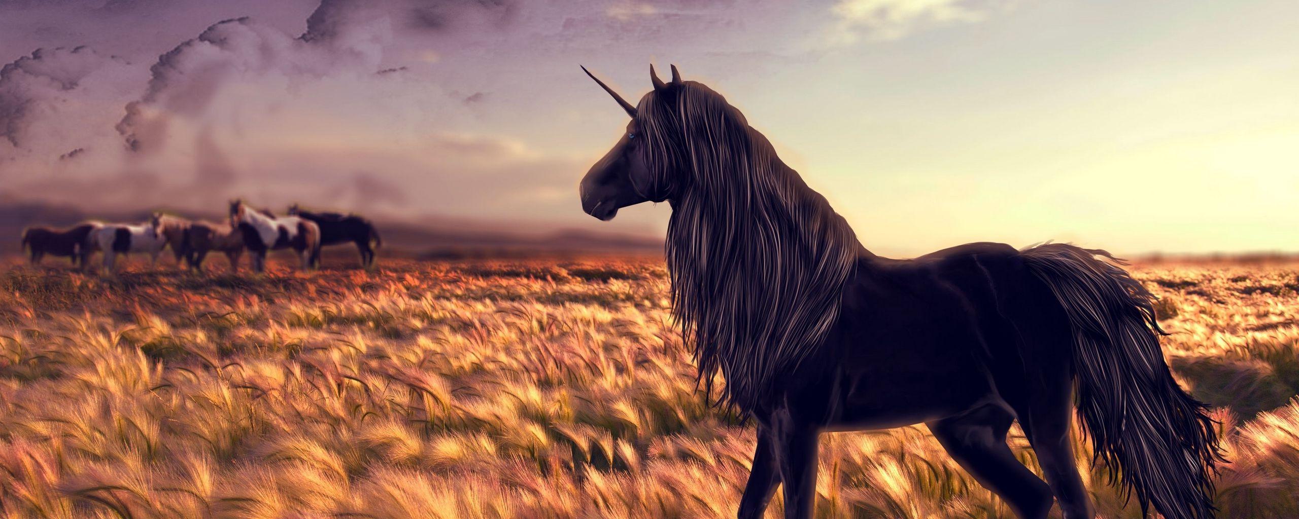2560x1024 Wallpaper horse, unicorn, golf, art, grass, wind