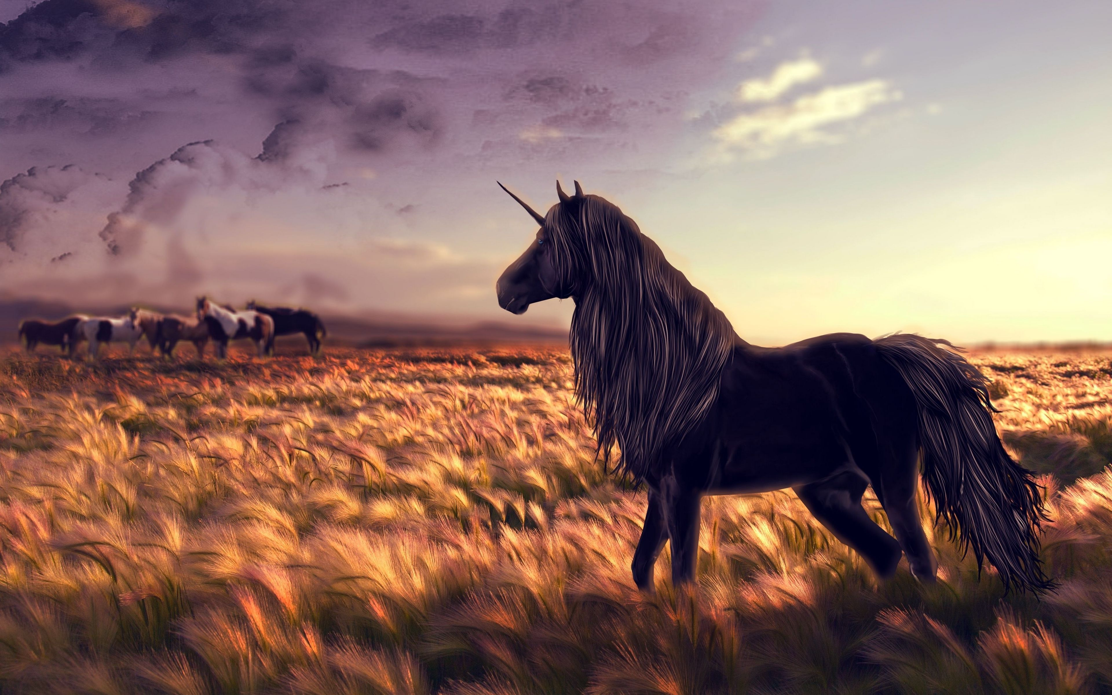 3840x2400 Wallpaper horse, unicorn, golf, art, grass, wind