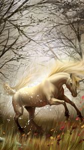 Preview wallpaper horse, wood, magic, wind, transformation
