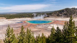 Preview wallpaper hot springs, crater, water, steam, trees, landscape